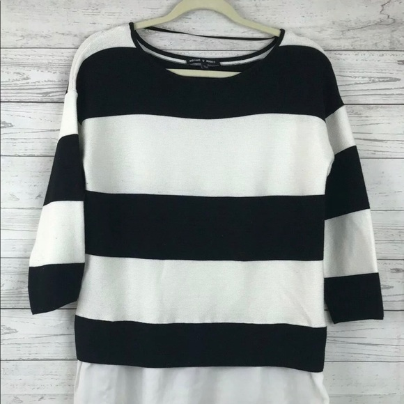 Cable & Gauge Sweaters - Cable & Gauge Sweater Top Striped Black White